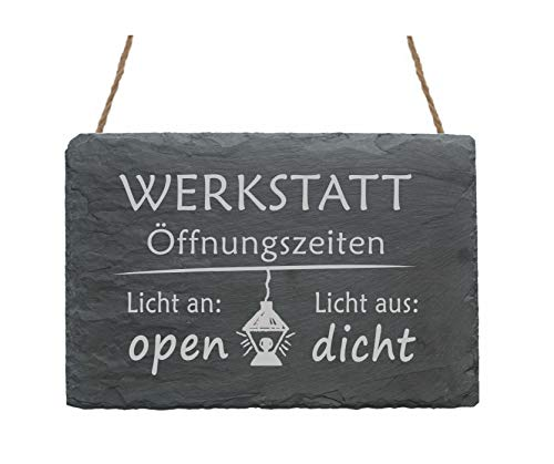 Schiefertafel Schild Gravur - Werkstatt Öffnungszeiten - ca. 22x16cm Motiv Lampe und Spruch - Licht an/aus - Türschild