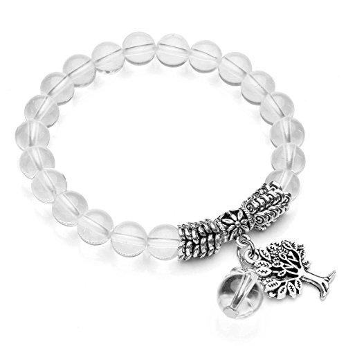 CrystalTears Yoga Armband mit Lebensbaum Anhänger 8mm-Kugelsteine Buddha Armreif Healing Balance Energietherapie Edelstein Stretcharmband (Bergkristall)