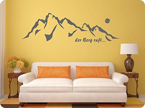 rs-interhandel® Nr. 583 / Der Berg ruft. als Wandtattoo, Aufkleber, Redewendung, Spruch, in ihrer Wunschfarbe. Passend in jedes Zimmer. (in bester Qualität aus Markenfolie gefertigt)