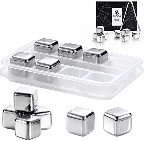 Whiskey Ice Cubes Stones Metal Ice Cube 8 pcs Stainless Steel Reusable Ice Cubes Chilling Whiskey product image