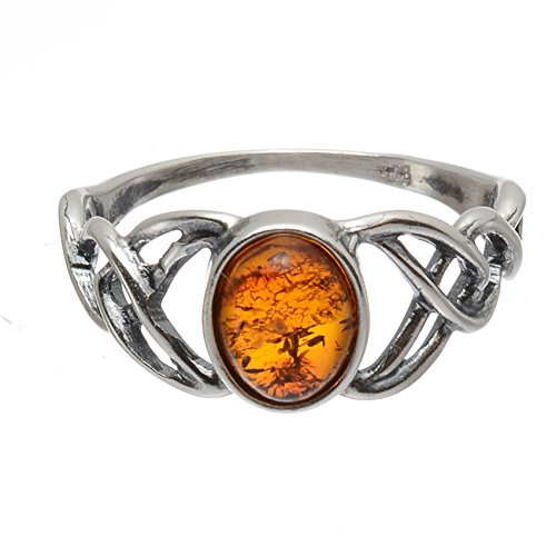 HolidayGiftShops Sterling Silver and Baltic Honey Amber Celtic Knots Ring- Size 10