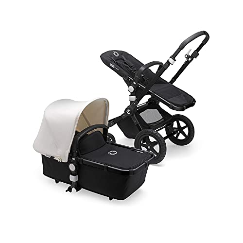 Bugaboo Cameleon 3 Plus - Cochecito de bebé 2 en 1, estructura negra y capota blanca