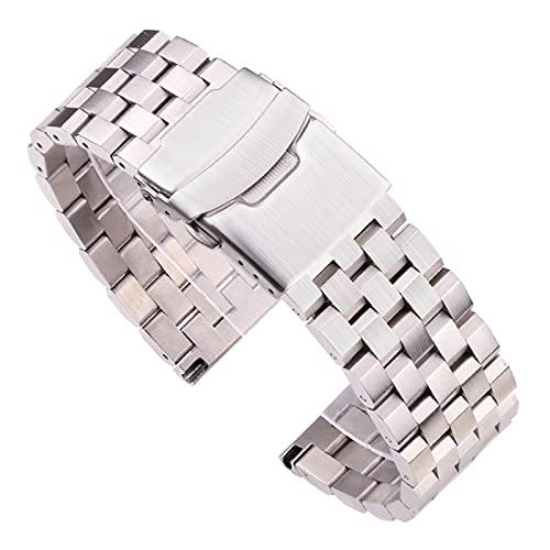 HANLILI kasu Pulsera de Correa de Reloj de Acero Inoxidable sólido 18 mm 20 mm 22 mm 24 mm de Plata Reloj de Reloj de Metal Cepillado de Plata Mujeres Hombres Relojes Accesorios