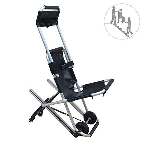 Mustbe Strong Silla De Escalera Plegable con Orugas con 4 Ruedas Ayuda De Movilidad Médica Ligera De Aluminio con Hebillas De Liberación Rápida para Ancianos, Discapacitados