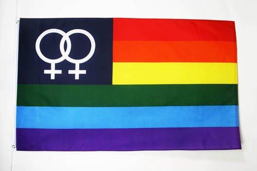 AZ FLAG Flagge Regenbogen DOPPELTE GEKOMMENE 150x90cm - LESBE Fahne 90 x 150 cm - flaggen Top Qualität