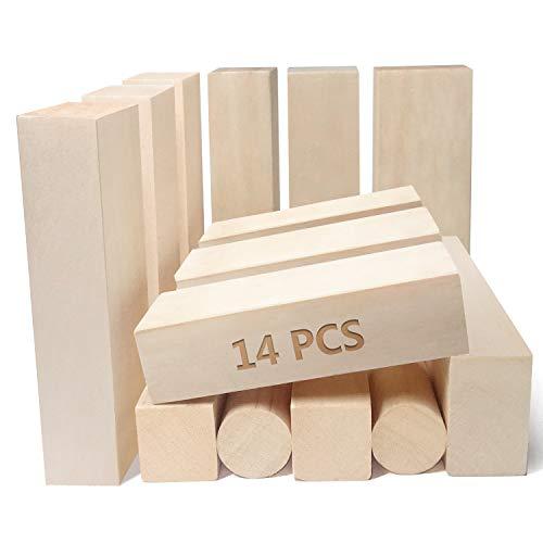 JSPYFITS 14 Stk Lindenholz Schnitzen Natürlich Schnitzholz Rohlinge Balsaholz zum Schnitzen Holzblöcke Unbehandelt Schnitzblock 12 x klein Ecking (10 * 2,5 * 2,5cm), 2 x Mittler Ecking (10*4*2,5cm)