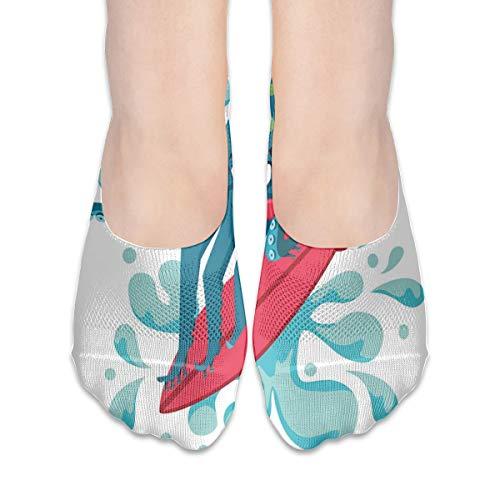 KKAIYA Women & Men Casual Low Cut Boat Sock invisible socks,Surfer Octopus Having Fun Ocean Waves Underwater Fish Print,Cotton Casual Athletic Socks,Petrol Blue Turquoise Red