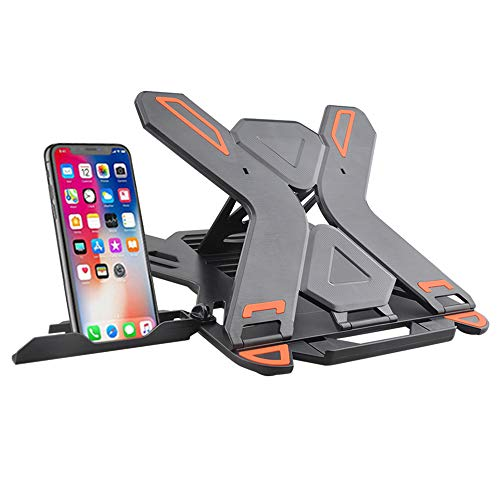 Adjustable Laptop Stand with Phone Holder, 2 in 1 Ergonomic Foldable Laptop Riser Stand,Multi-angle Portable Tall Notebook Stand Compatible for 17 inch Laptop Notebook Tablet Universal Stand(Black)