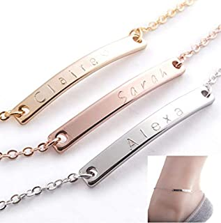 Custom Anklet 16K Gold Silver Rose Gold -Plated Bar anklet - Delicate initial name Anklet Bridesmaid Charms Bridesmaid Wedding Gift Best Graduation Day gift