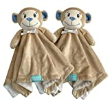 HappyCare Tex SNOOGIE Boo Two-Pack Lovey and Security Blanket with Stuffed Animal Style , 18 by 18 INCHES, Khaki, SN7908-MONKEY
