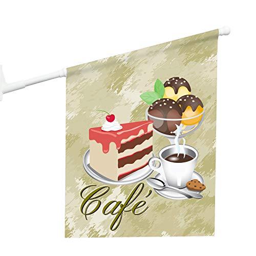 Vispronet® Eisfahne - Café, Konditor ✓ 46 x 52 cm ✓ Vinylplane ✓ doppelseitig Bedruckt ✓ inkl. Wandhalterung