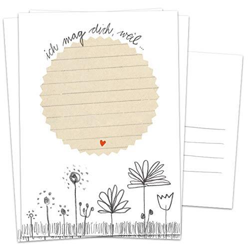 Partyspiel für Gäste, 26 Postkarten - Ich mag dich, weil - Glückwünsche Spiel für Geburtstag,...