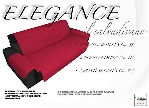 Tex Family BX Housse de protection matelassée pour canapé 3 places avec assise de 175 cm de long - Bordeaux 175 cm