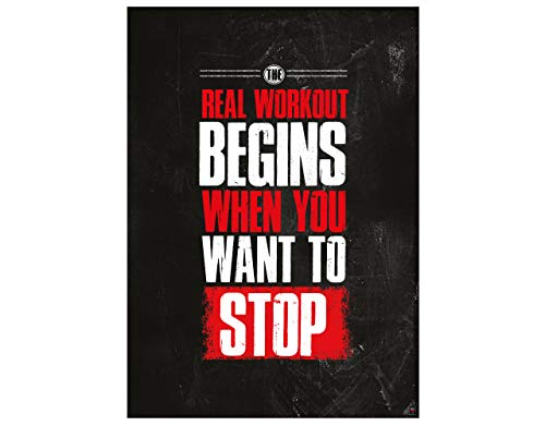 GREAT ART Motivationsposter 59,4 x 42 cm – Poster Format A2 Wandposter Fitnessposter Motivational Quotes – The real Workout Begins When You Want to Stop – Nr.2