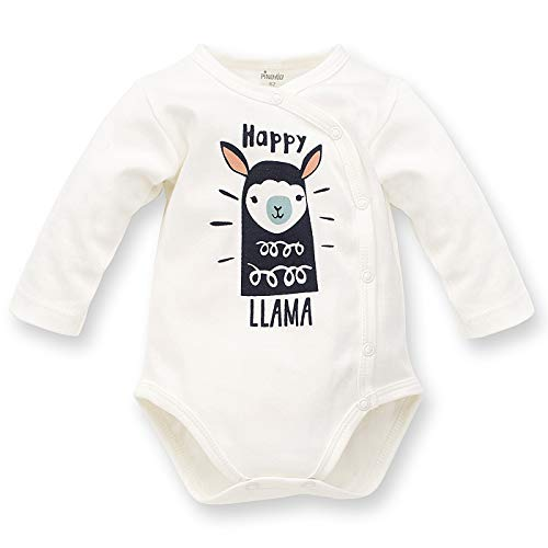 Pinokio - Happy Llama - Traje de bebé - Body de Manga Larga - 100% algodón Crema Verde con una...