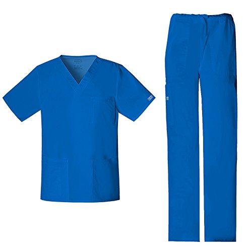 CHEROKEE Workwear Unisex Stretch V-Neck Top 4725 & Drawstring Pant 4043 Scrub Set - blue - X-Large