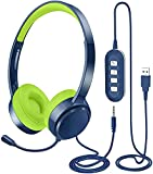 PC Headset, Multi-Use USB Headsets & 3.5mm Headphones with Noise Cancelling Microphone for Laptop, in-line Control Wired Headphone for Call Center Skype Chat Office Gaming VOIP Mac Mobile Phone