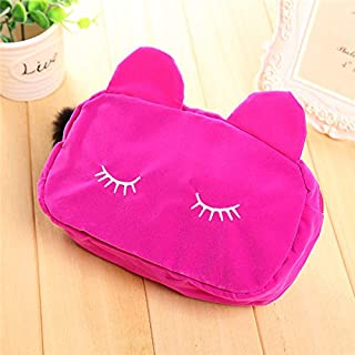 1 Pc Portable Cartoon Cat Cosmetic Coin Storage Case Travel Flannel Pouch Makeup Bag rose red
