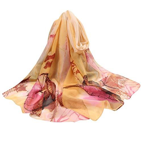 Bufanda de seda para mujer con estampado de flores, larga y suave, bufanda de seda de simulación, bufandas de verano, aire acondicionado, bufandas, toalla de playa, bufanda de seda (color: rosa)