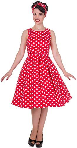 Dolly and Dotty® 'Annie' 50er Jahre Vintage Pin up Kleid in Rot mit Tupfen Größe 52
