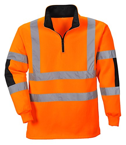 PORTWEST B308 - XENON Rugby Shirt, 1 Stück, XL, Orange, B308ORRXL