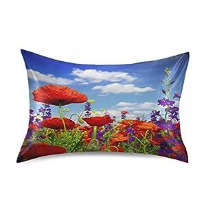 "Qilmy Pillowcase for Hair and Skin Silk,Poppy Flower Blue Sky Breathable Slippery Satin Pillowcase Covers for Sleep Decoration Standard Size 20""×26"""
