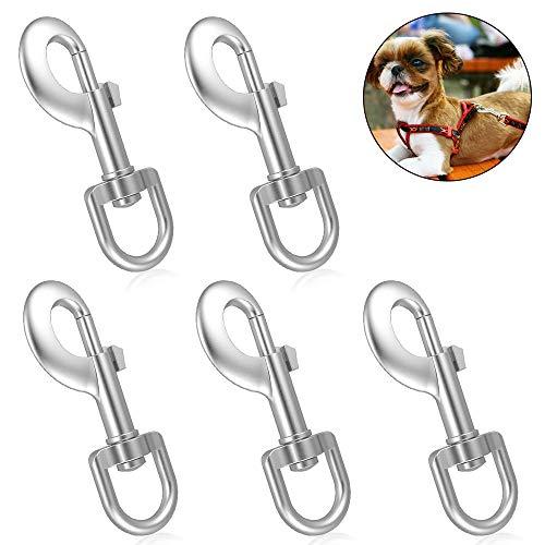 NAHUAA 5 Stück Karabiner in 360 Grad Gedreht Karabinerhaken Hundeleine Haken mit Drehgelenk für Karabiner Hund Katze Hundehalsband 87mm Silber Legierung Zink