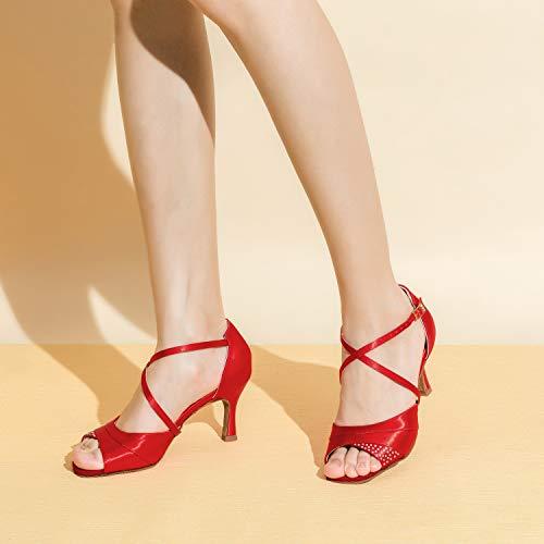 Jia Jia 20522 Damen Sandalen Ausgestelltes Heel Super-Satin mit Strass Latein Tanzschuhe Rot , 41 - 3