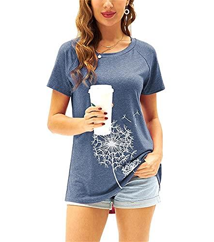 Damen T-Shirt Sommer Kurzarm Löwenzahn Drucken Rundhals Oberteile Casual Lose Bluse Shirt(Blau,S)