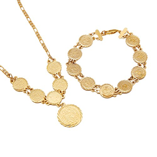 Moneda de oro colgante collar con pulsera árabes de oriente medio antiguo monedas joyas indio boda pulsera