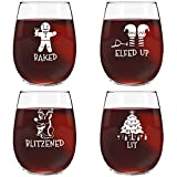 Drunk Christmas Funny Stemless Wine Glasses Set of 4 | Hilarious Christmas Themed Wine Glass for Holiday Party | 4 Designs | 15 oz Cheerful Party Cups & Gift Exchange Idea for White Elephant, Xmas