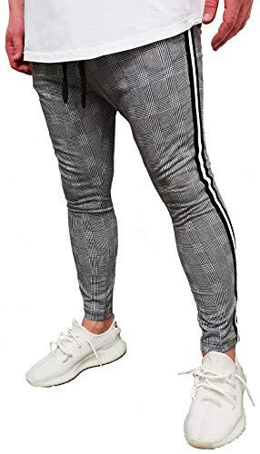 Herren Jogger Jogginghose Seitenstreifen Risse Destroyed Herrenjeans Biker Jeanshose Stretch Vintage Neu Blau Skinny Hose röhre Shirt eng hellblau Denim Tee Jeans röhrenjeans (XS (Etikett S), Grau)