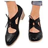 Aniywn Women Chunky Heels Faux Leather Saddle Dress Shoes Lace Up Vintage Point Toe Ankle Boots Dancing Shoes Black