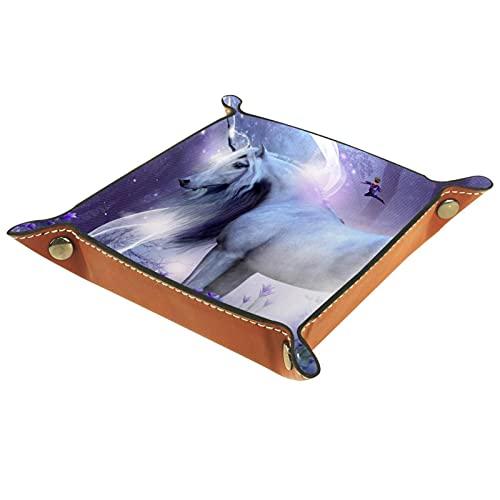 Bandeja de valet, bandeja para joyas, caja de valet para llaves, diseño de unicornio moderno con hadas mágicas, caballos, bandeja de almacenamiento de cuero
