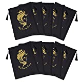 Yundxi 10 Packs Satin Packaging Bags Drawstring Pouches with Tassel for Wigs Hair Storage, Bundles,Hair Extensions,Tools, Business Gift Bags, Travel Bags (Black)