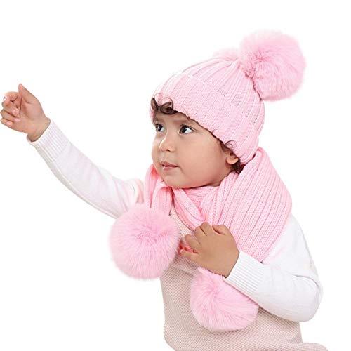 anyuq66qq Sombrero Otoño Invierno Bebé Sólido Invierno Cálido Hilo Envoltura De Punto Doble Pelo Bola Cabeza Gorro Bufanda Sombrero Traje Venta De Venta Al por Mayor, Rosa, China