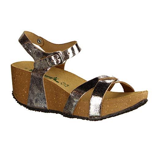 BioNatura 24 Fregene Canna Di (grau) - Elegante Sandale - Damenschuhe Sandalette/Sling, Grau, Leder (lamin Crack), absatzhöhe: 55 mm