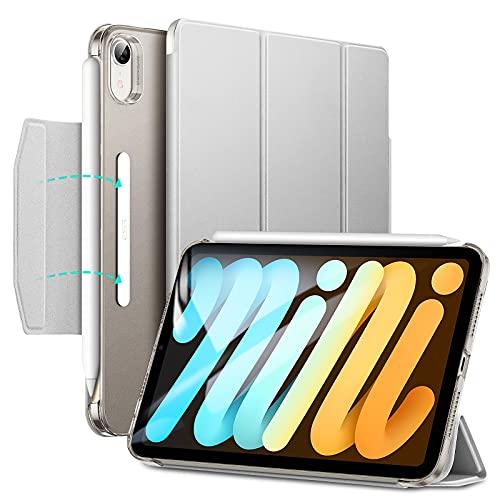ESR iPad mini6 ケース 2021 三つ折りケース 半透明 スマートケース 留め具付き 三つ折りスタンド オートスリープ/ウェイク対応 Pencil 2のペアリング・充電対応 グレー