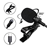 Professional for Android Type-C Lavalier Lapel Omnidirectional Condenser Mic Phone Audio Recording Easy Clip-on Mic for YouTube,Tiktok, Interview, Conference for USB Type-C Interface Device(6.6ft)