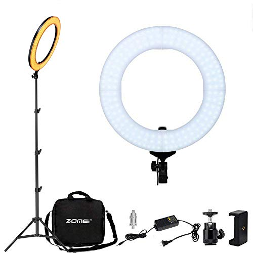 YESSBON LED Ring Light, 14' 2700-5500K Dimmable Makeup YouTube Video Lights Professional Beauty, Portrait, Video Chat, Live Streaming Lighting, Includes Phone Clamp, Tripod Head, Stand, Carrying Bag