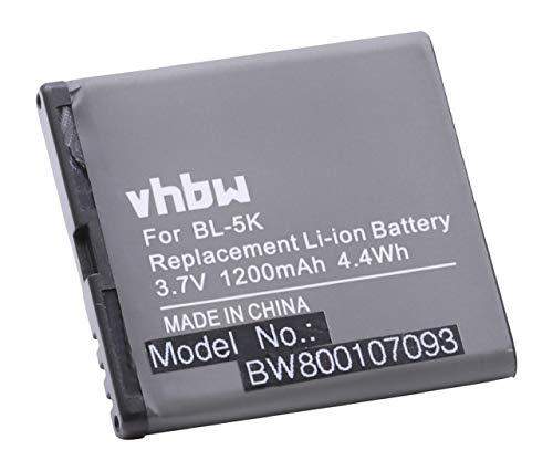 vhbw Li-Ion Akku 1200mAh (3.7V) für Handy Handy Smartphone Beafon SL670, SL670A, SL670_EU001W wie BL-5K.