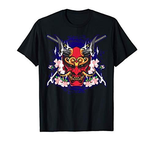 Oni Japanese Demon Mask Sakura Red Devil Art Camiseta