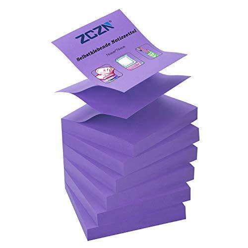 ZCZN Z-Notes, 6 Blöcke Selbstklebende Notizen Von 76 x 76 mm, 80 Blatt pro Block - Selbstklebende Notizen Von 480 Blatt - Lila
