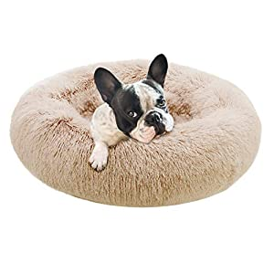 Eterish Fluffy Round Calming Dog Bed Plush Faux Fur, Anxiety Donut Large Dog Bed for Small, Large Dogs and Cats, Pet Cat Bed with Raised Rim, Machine Washable, 30 inches Brown