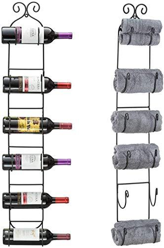 Mazu Homee Estante para vino de metal montado en la pared, apto para botellas de vino caseras, puede acomodar 6 botellas de vino, color negro