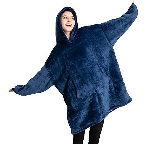 Sweatshirt Blanket,Oversized Sherpa Hoodie,Fleece Blanket,Sherpa Pullover for Womens,Mens,Children,Wearable Blanket (Blue)