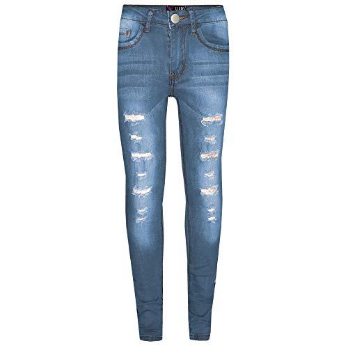 A2Z 4 Kids® - Jeans da bambina, in denim, elasticizzati, alla moda, per età 3, 4, 5, 6, 7, 8, 9, 10, 11, 12, 13, 14 anni Bleu Clair 9-10 Anni