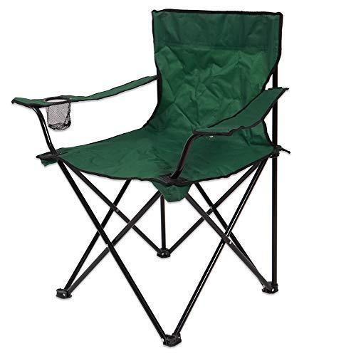 H HANSEL HOME Silla Camping Plegable Silla Playa de Acero con Posavasos para Interior o Exterior 50 x 50 x 80 CM - Color Verde Oscuro