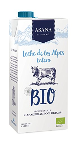 Asana Leche Ecológico UHT - Paquete de 6 x 1000 ml - Total: 6000 ml