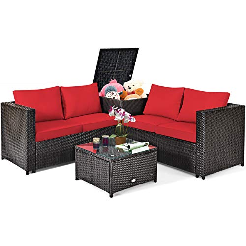 Tangkula 4 Piece Patio Set with Storage, All Weather-Proof Outdoor Conversation Set, with Cushioned Loveseat, Glass Top Coffee Table & Storage Box, Suitable for Garden, Poolside, Sunroom (1, Red)